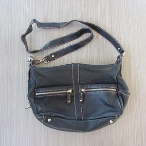 Tignanello Black Soft Leather Crossbody Bag Purse